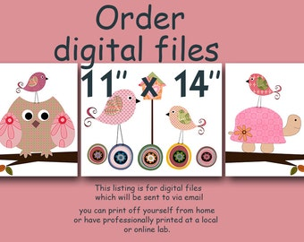 "ALL my prints, DIGITAL file, Art for Children , Kids Wall Art, Baby Girl Room Decor, set of 3 11"" x 14"", DIGITAL image"