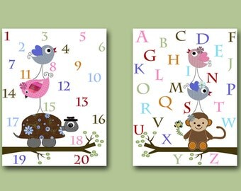 Baby Nursery Decor Art for Children Kids Wall Art Baby Boy Nursery Print Set of 2 Numbers Nursery Alphabet Nursery Birds Turtle Pink