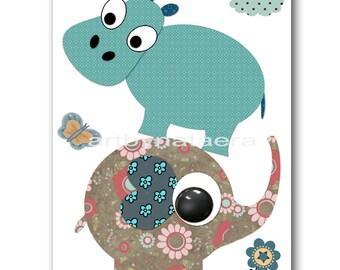 Baby Nursery Wall Decor Nursery Room Art Nursery Wall Art Nursery Boys Prints Nursery Art Print Baby Boy Art Elephant Hippopotamus Blue