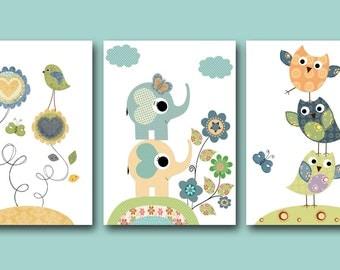 Baby Boy Nursery Decor Art for Children Kid Wall Art Baby Boy Room Decor Nursery print set of 3 blue green elephant bird owl decoration