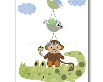 Baby Nursery Decor Art for Children Kids Wall Art Baby Boy Room Baby Boy Nursery Print Baby Boy Wall Art Crocodile Monkey Bird Green