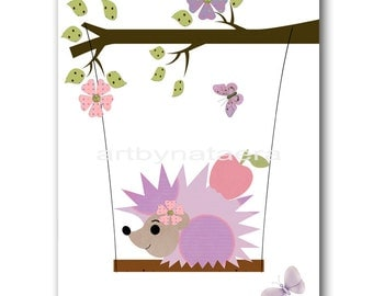 Baby Nursery Print Baby Girl Nursery Decor Art for Kids Wall Art Baby Girl Room Decor Kids Room Decor Baby Decor 8x10 Hedgehog Purple Pink