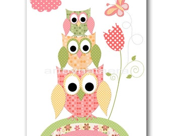 Baby Wall Art Baby Girl Room Decor Owls Baby Girl Nursery Print Kids Room Baby Decor Yellow Flower Owl Decoration Rose Baby Gift