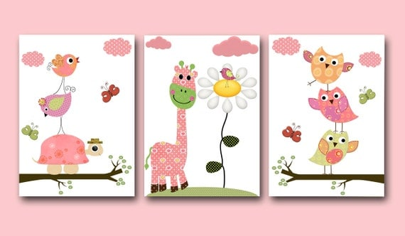 Kids art baby girl room decor owl kids room baby girl nursery for Room decor etsy