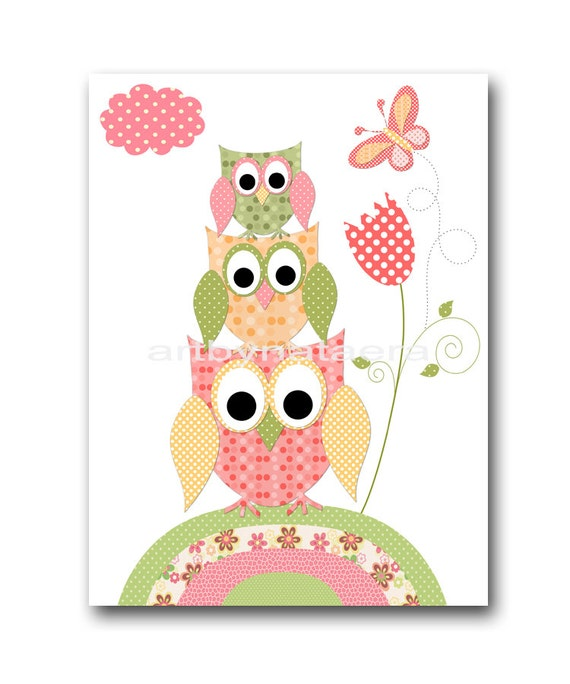 Baby wall art baby girl room decor owls baby girl nursery for Baby owl decoration