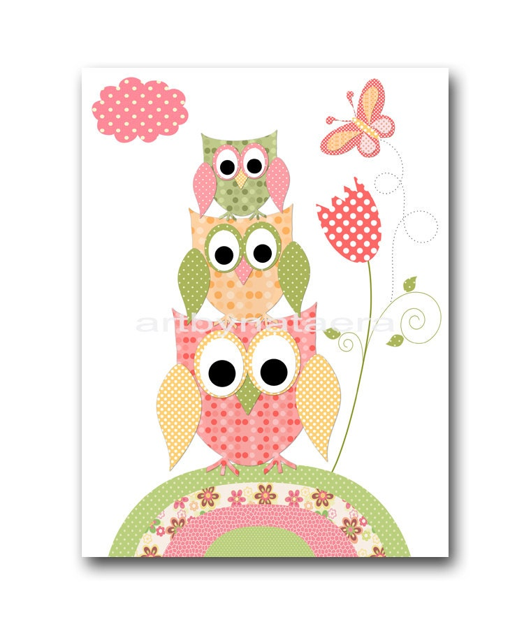 Baby wall art baby girl room decor owls baby girl nursery for Baby girl room decoration