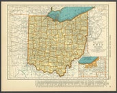 Vintage Map Ohio From 1937 Original
