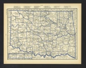 Vintage Map Oklahoma From 1930 Original