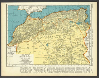 Vintage Map of Morocco Algeria and Tunisia From 1937 Original