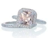 Morganite Ring 14K Cushion Cut Morganite Diamond Cushion Halo Custom Engagement Wedding Bridal Anniversary with Matching Band Ring Set