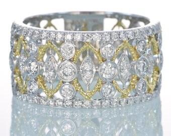 18 Karat Two Tone Gold Diamond Bezel Set Anniversary Wedding Engagement Wide Band Ring