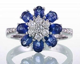 14 Karat White Gold Sapphire Floral Leaf Pedal Design Diamond Ring