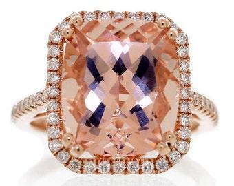 14 Karat Rose Gold 12x10 Cushion Cut Morganite Diamond Halo Solitaire Ring