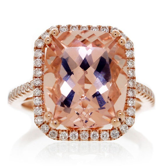 14 Karat Rose Gold 12x10 Cushion Cut Morganite Diamond Halo
