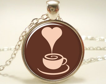 Coffee Lovers Necklace, Latte Pendant, Gifts For Her (1045S1IN)