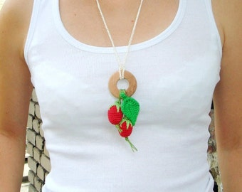 Strawberry red green Nursing Necklace with ring Natural wood  Waldorf toy Kokadi Wrap Baby Carrier