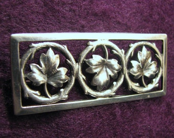 Vintage Sterling Silver 3 AUTUMN LEAVES Bar Brooch/Pin