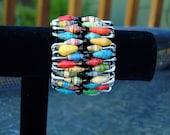 Ugandan Paper Bead Safety pin Bracelet