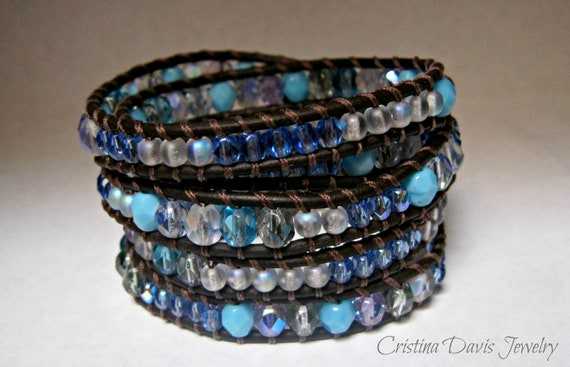 HOLIDAY SALE!  Beaded Leather Wrap Bracelet, serenity blue, boho chic