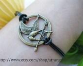 Bracelet-Antique bronze HUNGER GAMES bracelet,bird bracelet,real leather bracelarrow bracelet,arrow pendant,real leather bracelet-B071