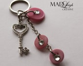 rhinestone skeleton key Key chain with HOT pink Buttons for MISSY289