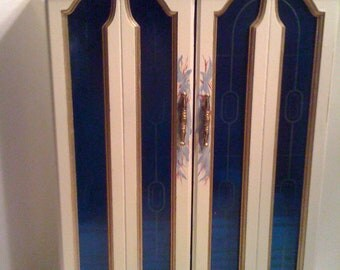 Hand painted Cream and Gold Large Jewelry Box Armoire with Blue Windows, Large Jewelry Cabinet, Jewelry Organization