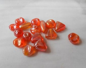 Destash Tangerine Orange Glass Beads with Luster Finish, Assorted Shapes and Sizes