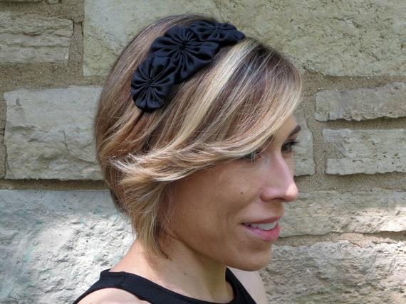 Adult Headband, Black Headband, Shantung Silk Trio Rosette Headband, Women Headband,Girl Headbands, Dressy Headband, Wedding Headband, 701