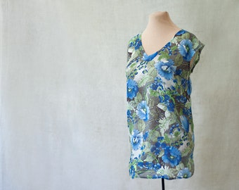 silk v-neck blouse, CUSTOM, top, tunic, cap sleeves, botanical, floral, wild flowers, blue and gray and white, ,more colors