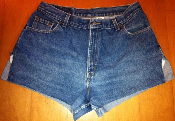 LEVIS 550 Distressed High Waisted Faded Blue Denim Jean Shorts with Orange Stitching PLUS Size 16 MIS M
