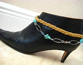 "Boot Candy Camel Braided Suede and Crystal Turquoise Chain Bracelet for your Boots....""FREE SHIPPING"""
