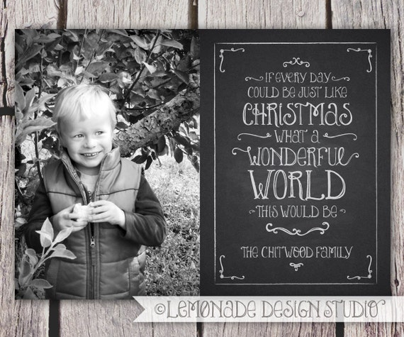 Items similar to Chalkboard Christmas Card - Holiday Card ...