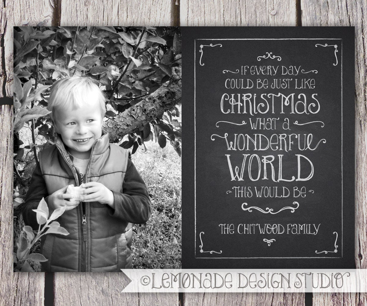 Chalkboard christmas card holiday card by lemonadedesignstudio for Chalkboard christmas cards
