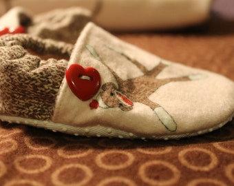 Funky Monkey Sock Monkey Booties in Pink. Available in 0-18 mo size