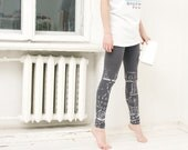 Cruising in the trolley-  gray leggings with silver/ white print - ZIBtextile