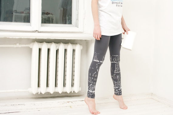 Cruising in the trolley-  gray leggings with silver/ white print