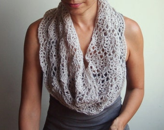 Crochet pattern lacy capelet shrug shawl bride wedding infinity loop neckwarmer circle scarf, DIY tutorial