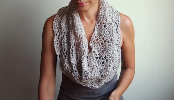 Crochet pattern lacy capelet shrug shawl bride wedding infinity loop neckwarmer circle scarf, DIY tutorial