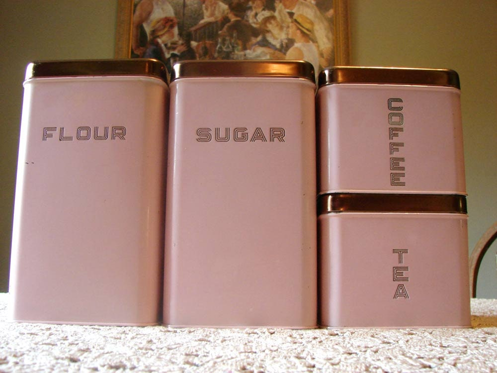 Pink lincoln beautyware canister set w copper lids