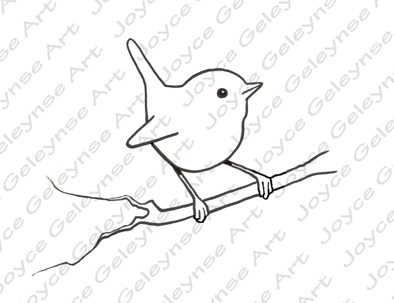 Drawing Lines Freehand : Digital stamp clip art little bird wren commercial use
