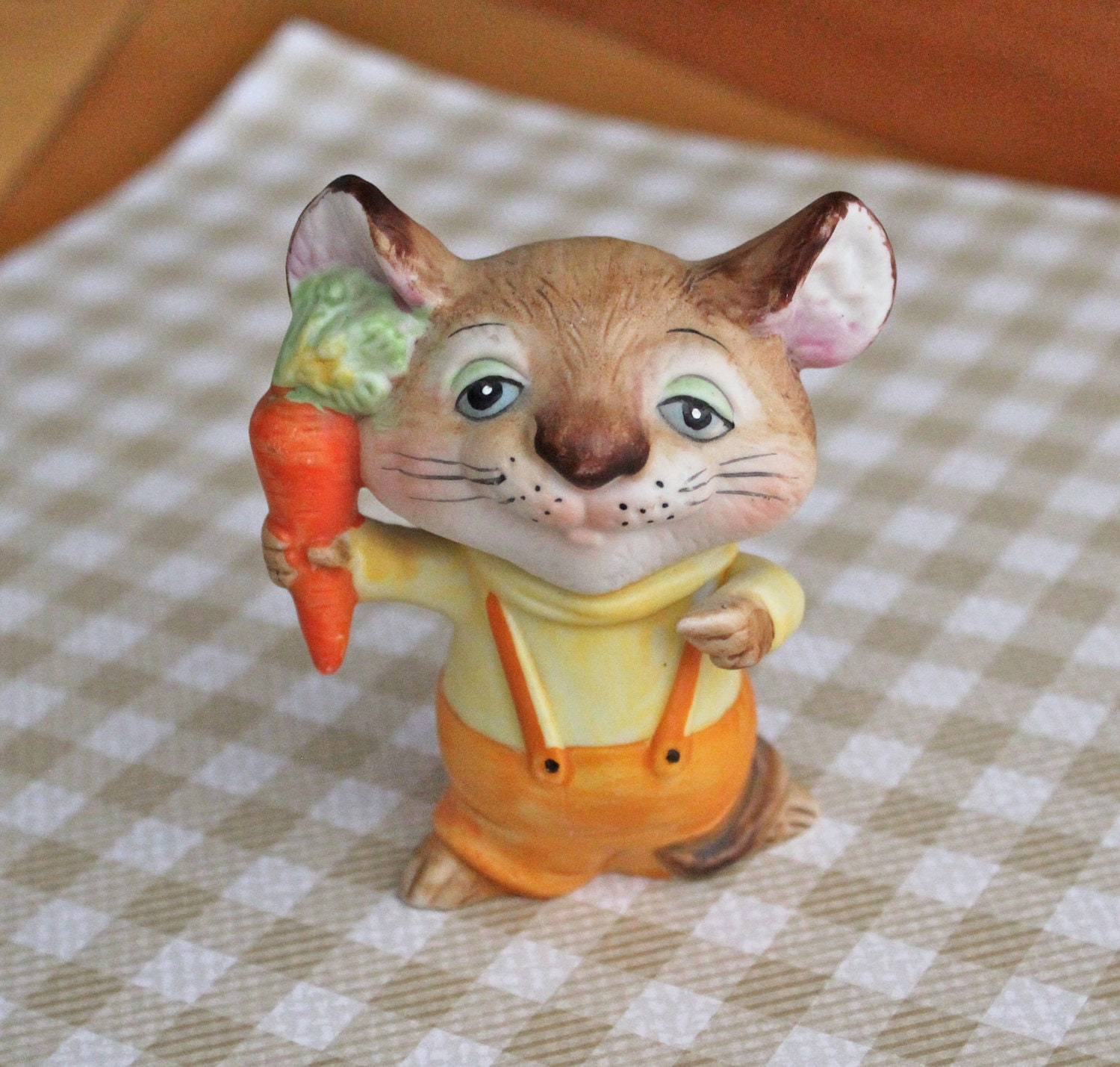 Vintage Homco Home Interiors Farm Mouse With Carrot Figurine