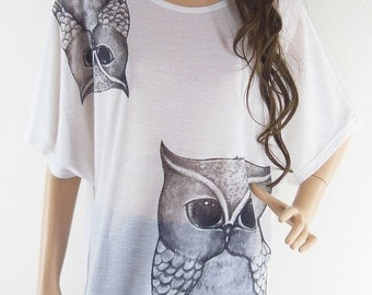 Owl Cute Owl tunic Animal Style  Bat Sleeve White Short Sleeve Oversize T-Shirt Free Size
