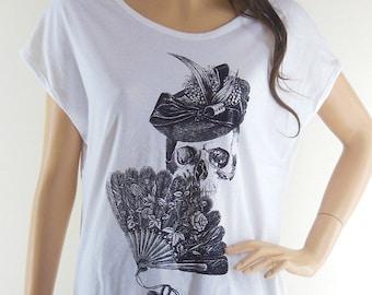 Skull blown Skull hat Art Design Bat Sleeve Women Shirt White Short Sleeve White Shirts Screen Print Size M