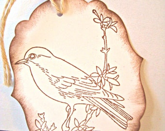 10 Handmade Gift Tags: Vintage Inspired - Rustic Bird Gift Tags - large gift tags - hand stamped - Wcards