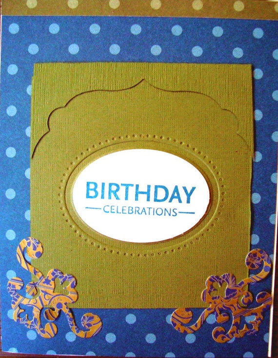 Masculine Birthday card, Navy Blue, Khaki, polka dot, handmade