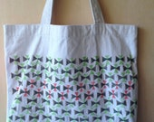 SALE CLEARANCE Hand Stamped Cotton Canvas Tote Bag, Red and Shades of Green Geometric Design, Triangles, Pattern Stamped Bag, Reusuable Bag