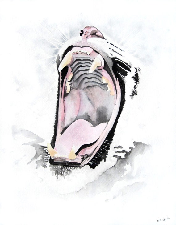 Items similar to White Tiger - original watercolor