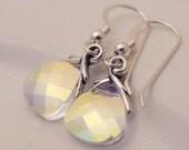 Vine wedding earrings. Nature bridal jewelry. Swarovski crystal earrings. Delicate crystal drops.