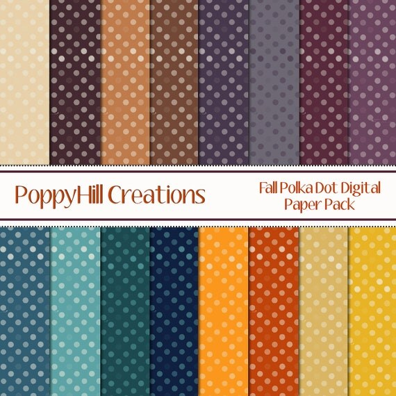 INSTANT DOWNLOAD - Printable Fall Polka-Dot Digital Paper Pack - For Commercial or Personal Use
