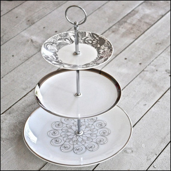 Scandinavia and Scrolls : Mid Century Modern Cake Stand, White Cake Plate,  Vintage China Pastry Stand, Tiered Cupcake Stand